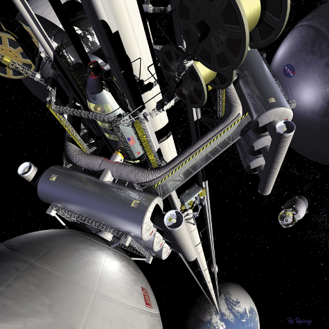 This illustration by artist Pat Rawling shows the concept of a space elevator as viewed from the geostationary transfer station looking down the length of the elevator towards the Earth.