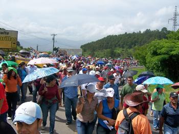 The northern highway blockade at El Durazno