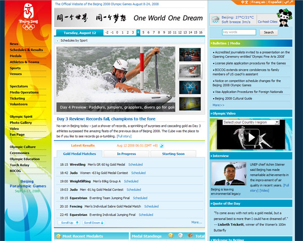Beijing 2008 Official Olympic Games Site