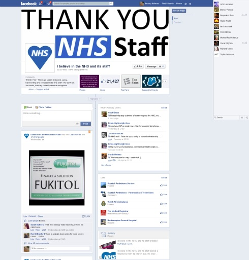 I believe in the NHS and its staff Facebook page with Fukitol up yours